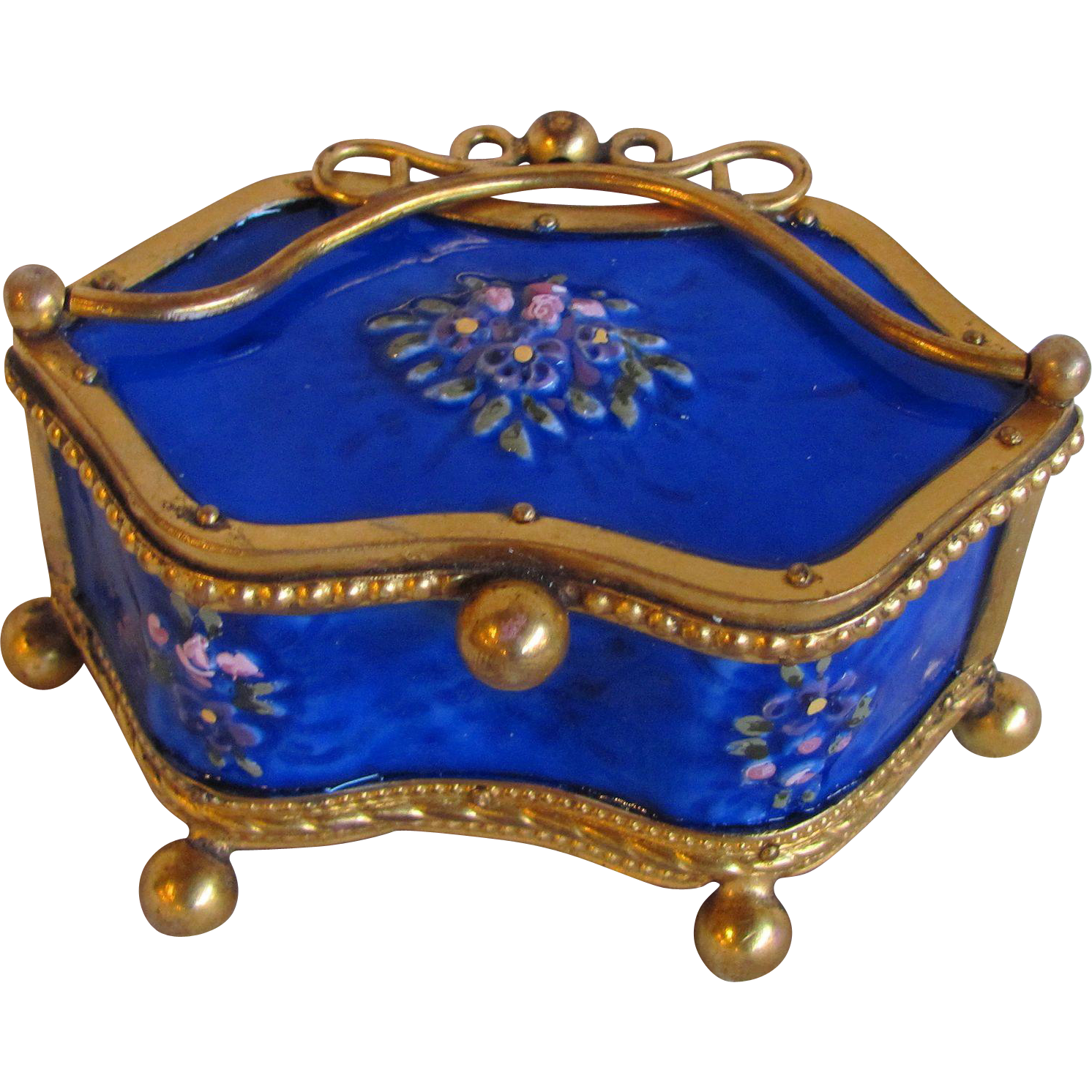 Antique Victorian Enameled Trinket Box Circa 1890
