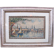 Impressionist Watercolor on Board Ferdinand Hopner German Circa 1920's