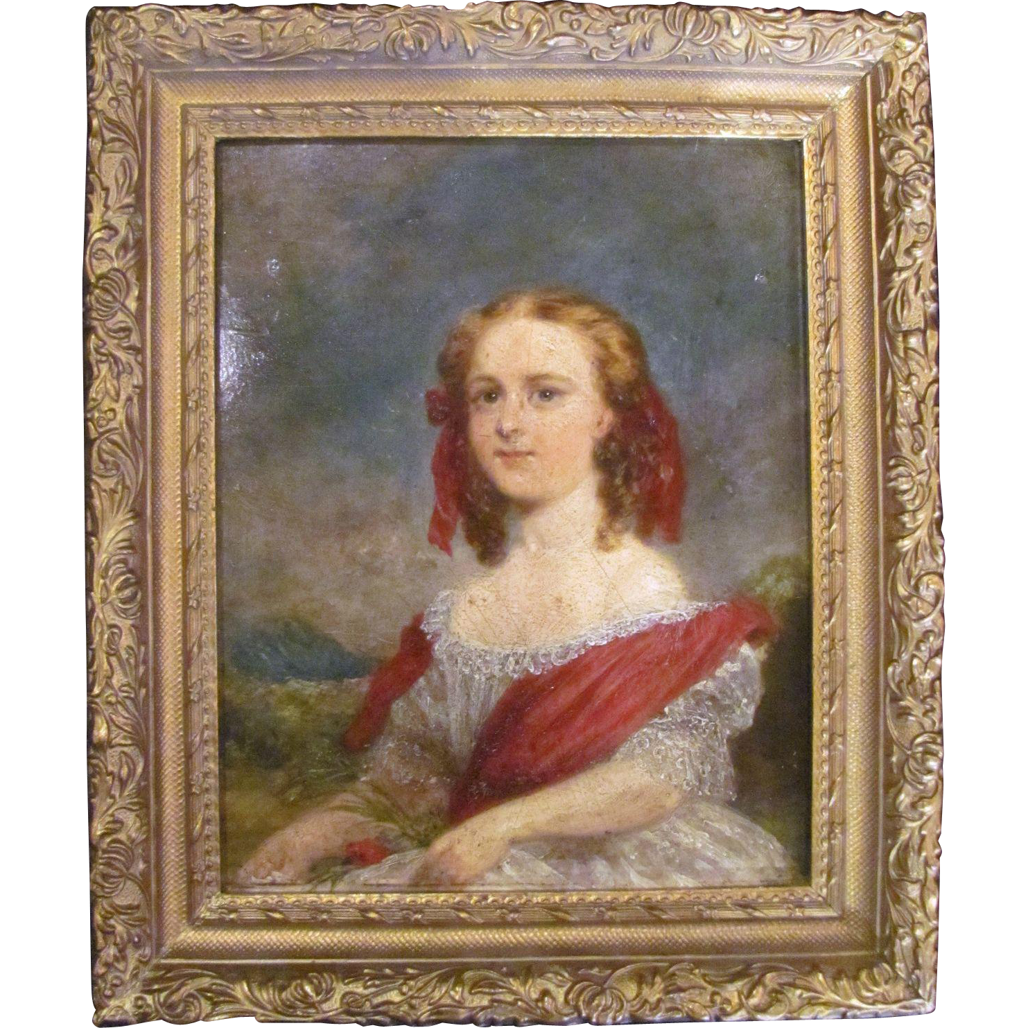 Antique English Victorian Oil on Board Painting  Circa 1850