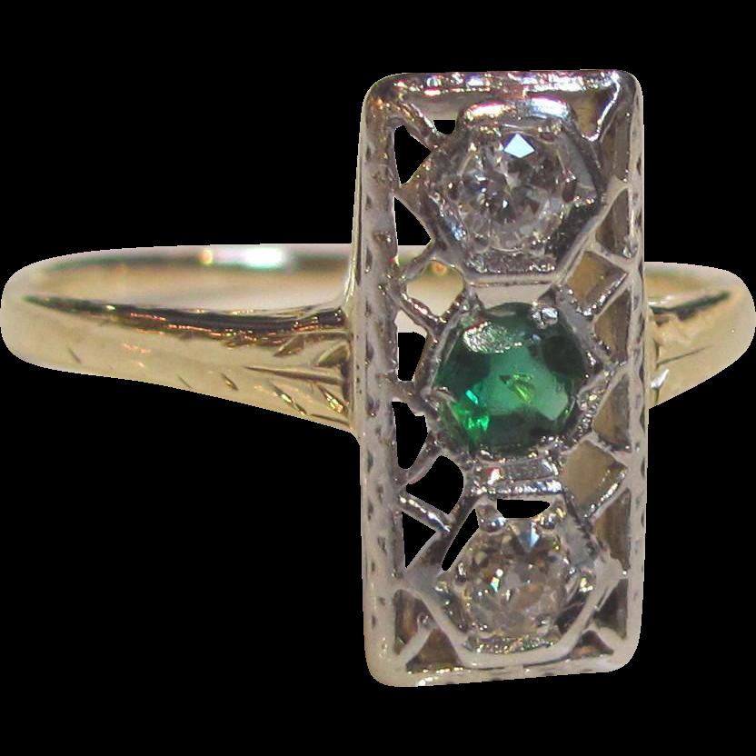 Antique Art Deco Platinum 14K Gold Diamond Ring Circa 1920