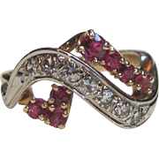 Vintage Retro Modern 14K  Diamond Ruby Ring Circa 1940