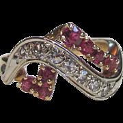 Vintage Retro Modern 14K  Diamond Ruby Ring Circa 1940