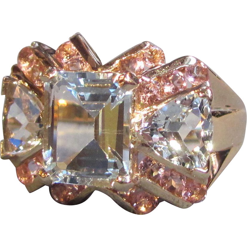 Vintage Retro Modern 14K  Aquamarine Pink Sapphire Ring Circa 1945