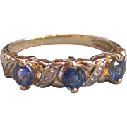 Vintage 14K Sapphire Diamond Ring Band 20th Century