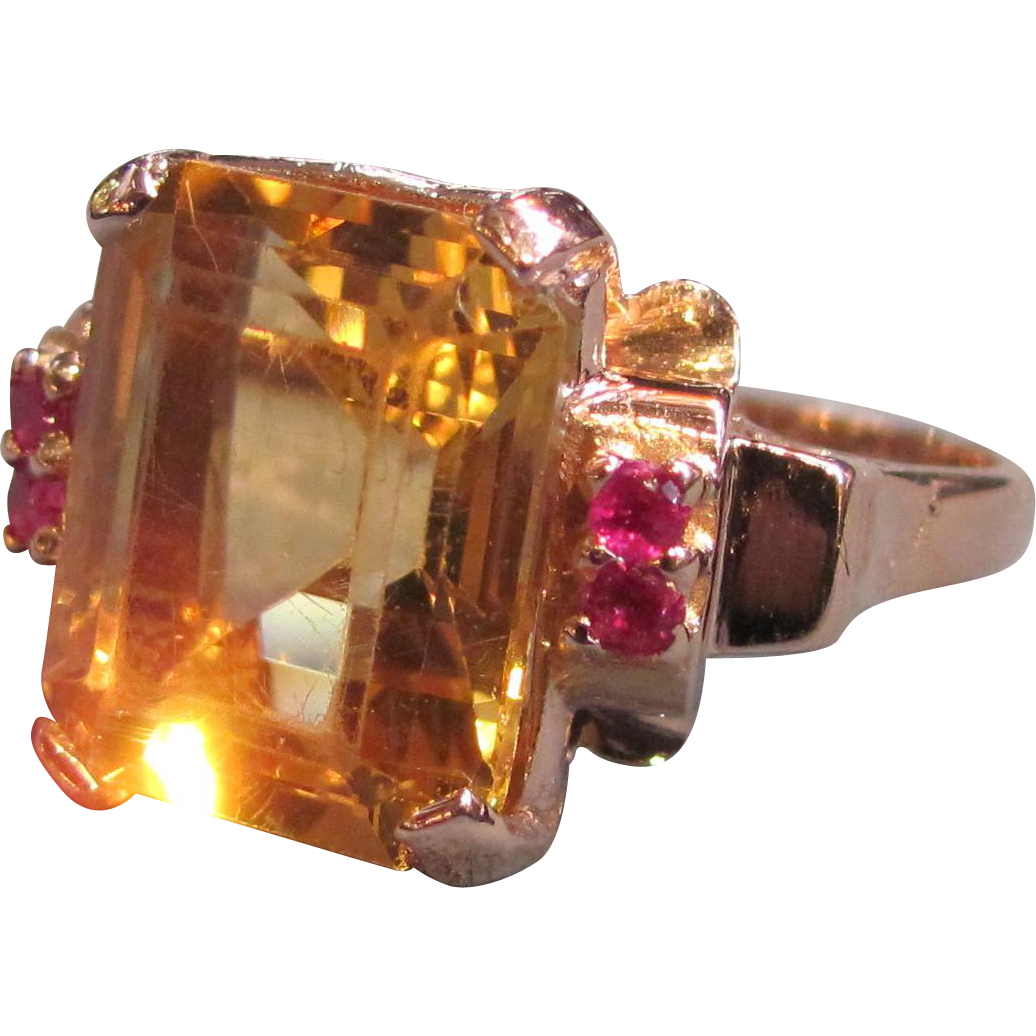 Vintage 14K Rose Gold Citrine Ruby Ring Circa 1940