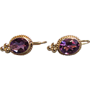 Vintage 14K Gold Amethyst Earrings 20th Century