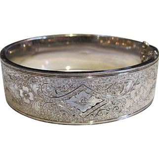 Antique American Sterling Bangle Bracelet Circa 1900
