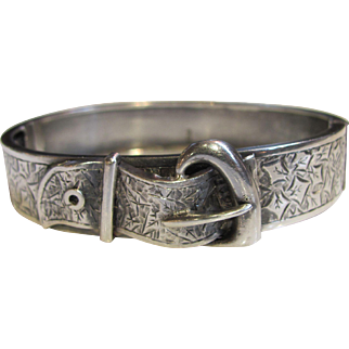 Antique English Sterling Buckle Bangle Bracelet 1887