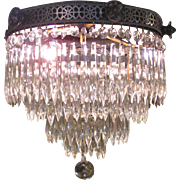 Antique Art Deco Crystal Chandelier Circa 1920