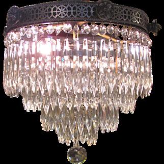 Antique Art Deco Crystal Chandelier Circa 1920