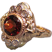 Vintage 14K Gold Diamond and Garnet Ring Circa 1940