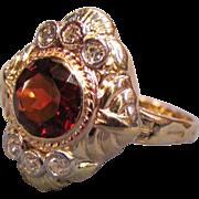 Vintage 14K Gold Diamond and Garnet Ring Circa 1940