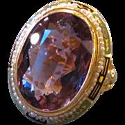 Vintage 14K Gold Amethyst Pearl Enamel Ring Circa 1930