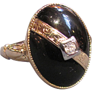 Vintage 14K Gold Onyx & Diamond Ring Circa 1940