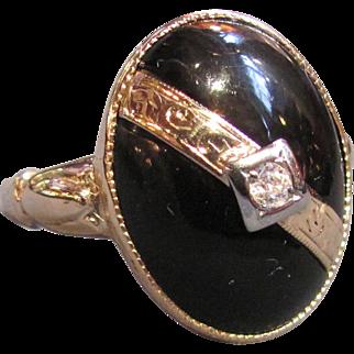 Vintage 14K Gold Onyx & Diamond Ring Circa 1940