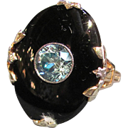 Vintage 10K Gold Onyx & Blue Zircon Ring Circa 1935