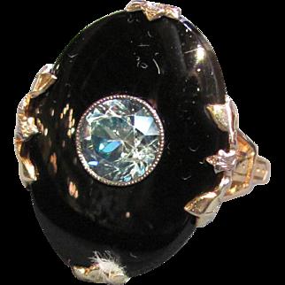 Vintage 10K Gold Onyx & Blue Zircon Ring Circa 1935