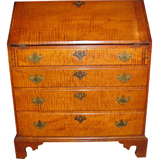 Antique American Tiger Maple Slant Front Desk Circa 1770