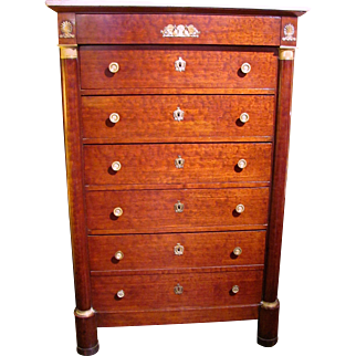 Antique French Empire Mahogany Chest Of Drawers Circa 1825