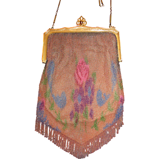 Antique Art Deco Whiting Davis Dresden Mesh Enamelled Bag 1920'S