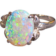 Vintage 14K White Gold Opal Ring Circa 1960
