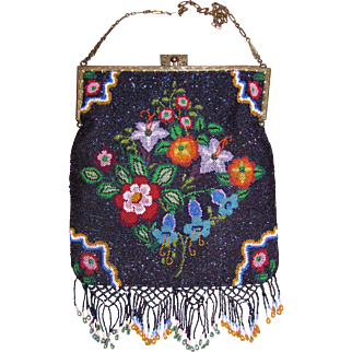 Antique Micro Beaded Bag Circa 1920