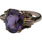 Vintage 10K Art Deco Amethyst Ring 1930's
