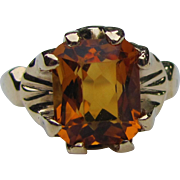 Vintage Art Deco 10K Citrine Ring Circa 1940