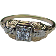 Antique Art Deco 14K Diamond Ring .33ct. Circa 1930