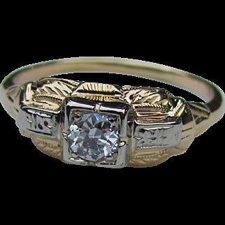 Antique Art Deco 14K Diamond Ring .33ct. Circa 1930