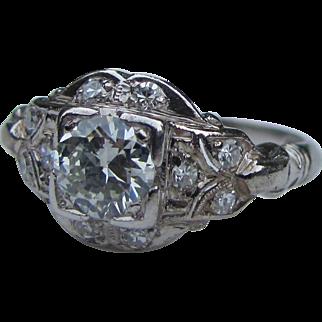 Antique Edwardian Platinum Diamond Ring 1.04cts. Circa 1915