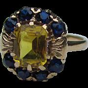 Vintage Retro Modern Ring 10K Sapphire Circa 1940