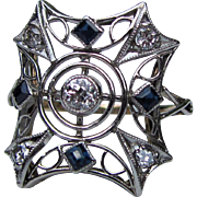 Antique Edwardian Platinum 14K Diamond Sapphire Filigree Ring Circa 1915