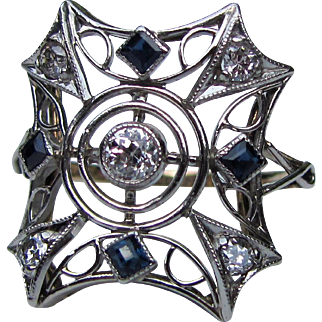 Antique Edwardian Platinum 14K Diamond Sapphire Filigree Ring Circa 1915