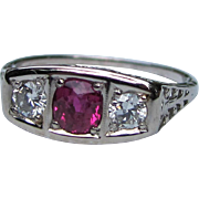 Antique Art Deco 18K White Gold Diamond Ruby Ring Circa 1925