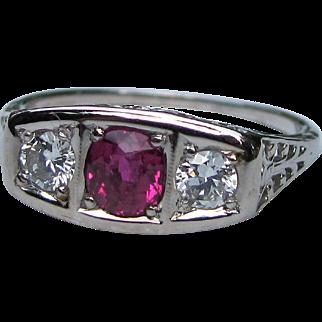 Antique Art Deco 18K White Gold Diamond Ruby Ring Circa 1925