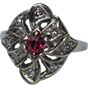 Antique Edwardian 14K White Gold Diamond Ring Circa 1920