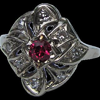 Antique Edwardian 14K White Gold Diamond Ring Circa 1920
