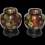 Pair Antique Chinese Cloisonne Ginger Jars Circa 1900