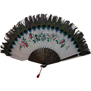 Antique Chinese Export Hand Painted Goose Feather Fan Circa 1870