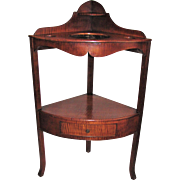 Antique American Federal Tiger Maple Corner Wash Stand Circa 1810