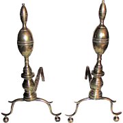 American Federal Brass Andirons Double Lemon Top Circa 1800