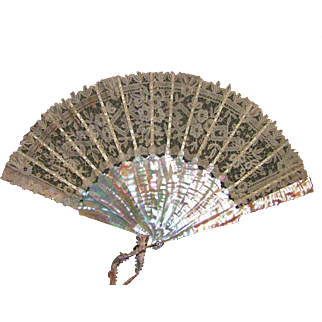 Antique Brussels Lace Fan with Mother of Pearl Sticks Circa 1860