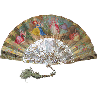 Antique Hand Painted Lithograph Fan Mother of Pearl Sticks Circa 1860
