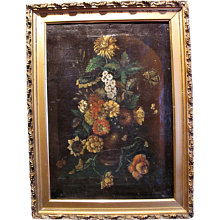 Antique Still Life Oil On Canvas Painting Signed 18th-19th Century