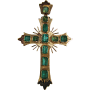 Vintage 18K Gold Emerald Cross Pendant