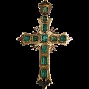 Vintage 18K Gold Emerald Cross Pendant