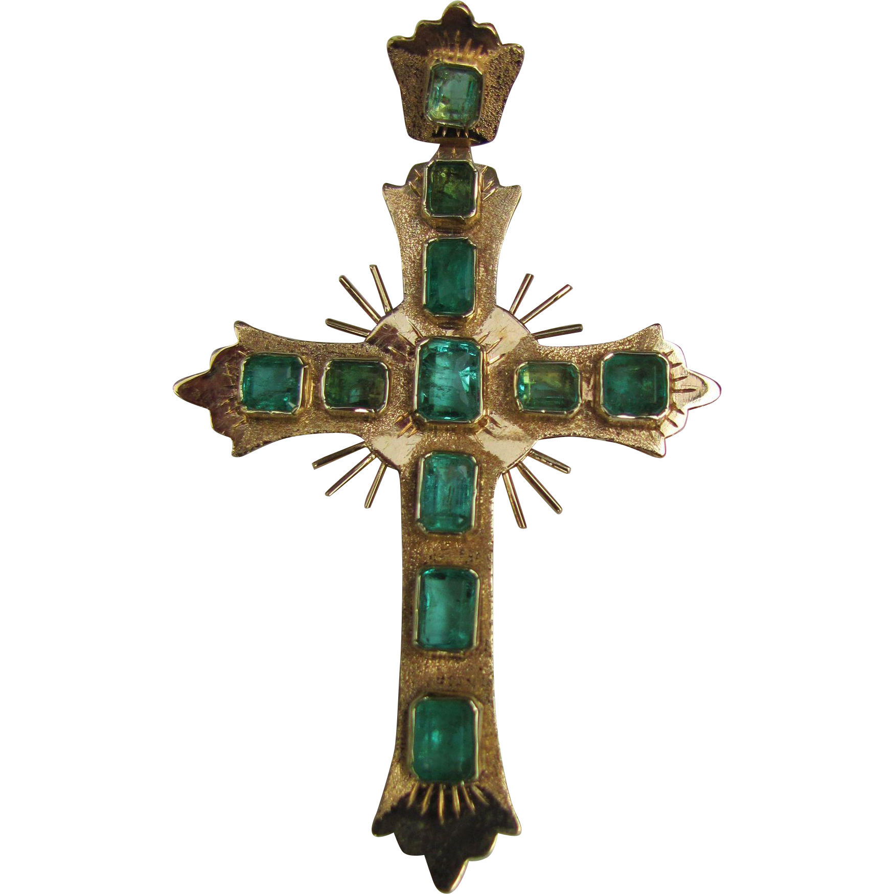 Vintage 18k Gold Emerald Cross Pendant From Flanagan