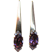 14K Gold Amethyst and Diamond Earrings Modern Design