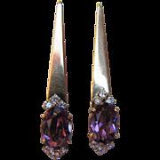 14K Gold Amethyst and Diamond Earrings Modern Design